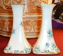 LIMOGES Candlesticks HAND Painted FLOWERS Pair-