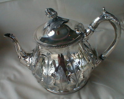 REPOUSSE Silver TEAPOT English -ANTIQUE-