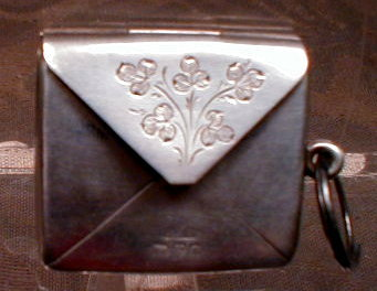 STERLING Chatelaine STAMP Purse - ANTIQUE -