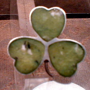 CLOVER Sterling GREEN Agate GAELIC Pin -HG & S-