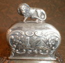 Repousse TEA Caddy LION Finial SP - ANTIQUE -