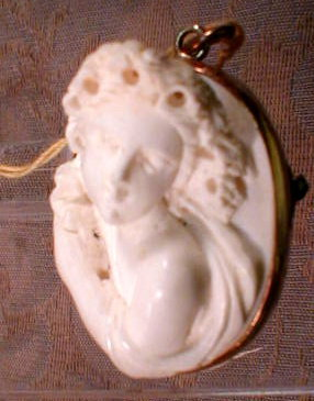 Hard STONE Cameo PIN High Relief 14k Gold -