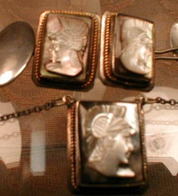 Cameo CUFFlinks SET Silver MOP - ANTIQUE -