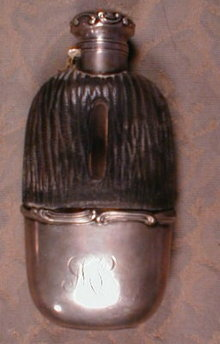 GORHAM Sterling FLASK Leather - ANTIQUE -