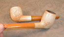 ANTIQUE Meerschaum PIPES Amber Stems CARVED (2)