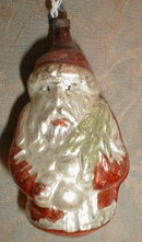 Santa CHRISTMAS Ornament Glass -ANTIQUE-