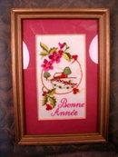 FRAMED Embroidery Bonne Annee -HAPPY New YEAR -