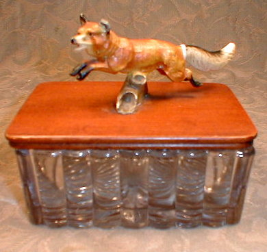 FOX Figurine MOUNTED on Glass BOX Lid ANTIQUE