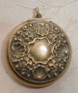 ANTIQUE Chatelaine BOX - STERLING - Gold WASH -