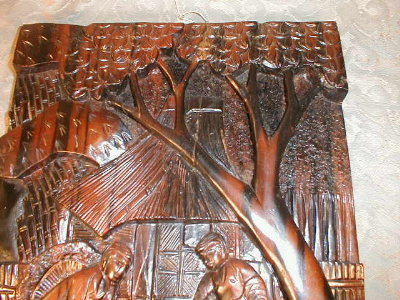 CARVED Rosewood PANEL Cock FIGHT -