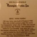 NORWEGIAN American LINE Plate BRIGG Anna MARIA-