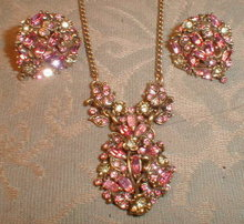 HOLLYCRAFT Necklace EARRINGS Set 1950 -VINTAGE-