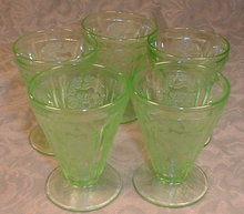 CHERRY Blossom JUICE Glasses -5- Footed GREEN-