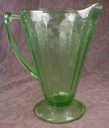 CHERRY Blossom PITCHER Footed GREEN Jeannette-
