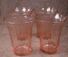 Pink FRUIT Tumblers -4- Hazel ATLAS Depression-