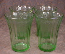 Green FRUIT Tumblers -7- Hazel ATLAS Dep. GLASS