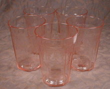 Pink PRINCESS Tumblers -5- Hocking -VINTAGE-
