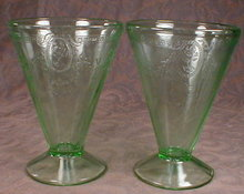 Green ROSE Cameo FOOTED Tumblers -2- VINTAGE -