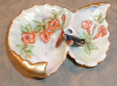 BiRD Pin DISH Hand Painted TRUMPET Vine UNIQUE