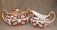 IMARI Royal CROWN Derby LARGE Creamer & Sugar -