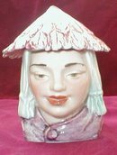 MAJOLICA Humidor ASIAN Girl - ANTIQUE -