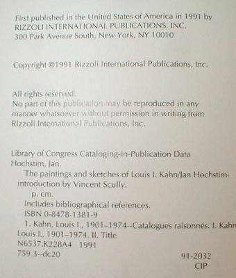 Louis KAHN Paintings SKETCHES Catalogue RIZZOLI
