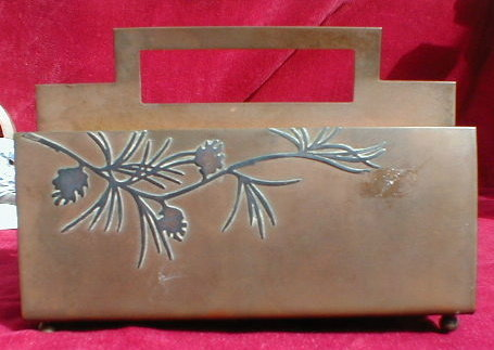 HEINTZ InkWELL Letter RACK -Sterling on Bronze-