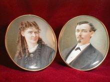 Portrait MINIATURES Prosdocimi COUPLE -Antique-