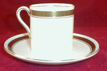 SHELLEY Athens DEMiTasse Cup SAUCER White+Gold-