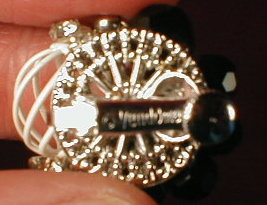 VENDOME Earrings BLACK & Rhinestones -VINTAGE-