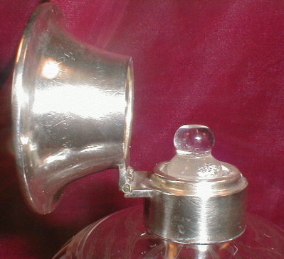DECO Crystal PERFUME Bottle SILVER Top - ANTIQUE -