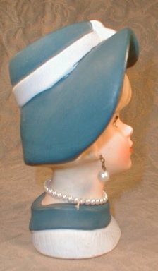 TEEN Head VASE NapcoWARE C7494 Hat EARRINGS -