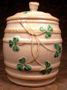 BELLEEK Marmalade JAM Pot SHAMROCKS - 1st Green Mark -