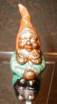 GNOME Lead FIGURINE Hand PAINTED - ANTIQUE -