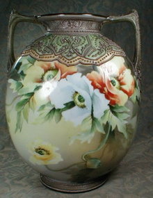 NIPPON Moriage VASE HP Poppies ANTIQUE-