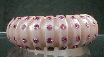 PINK Plastic RHINEstone HINGED Cuff BRACELET -