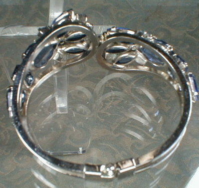 BLUE RhineSTONE Bracelet HINGED Cuff VINTAGE -