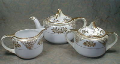 NORITAKE Tea Set POT Cream SUGAR -White & Gold-