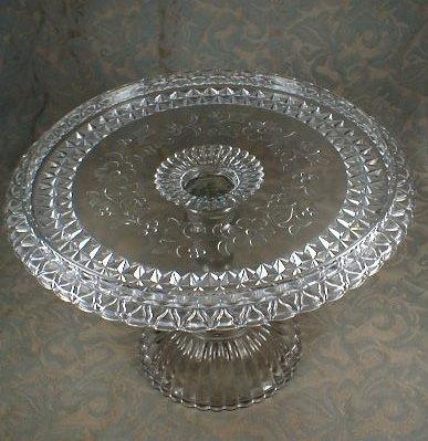 WILDFLOWER Cake Plate EAPG Pedestal Adams US Glass