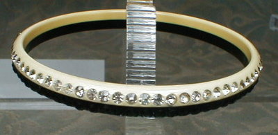 Celluloid RHINESTONE Bangle - BLACK & White -
