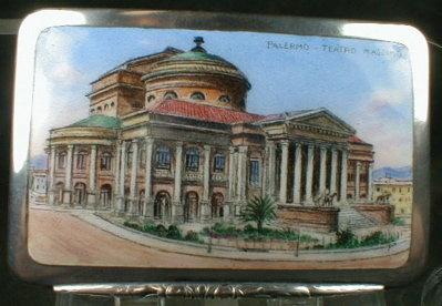 ENAMELED Silver SNUFF BOX -Palermo Opera House-