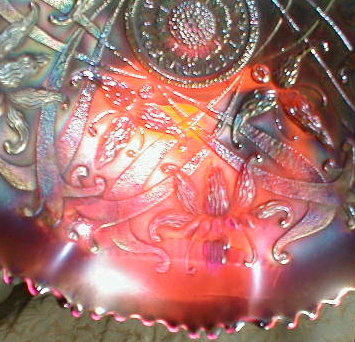 NORTHWOOD Wishbone Bowl - RED Carnival GLASS -