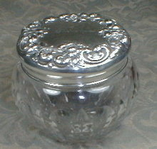 Gorham STERLING Top JAR Cut Glass - Antique -