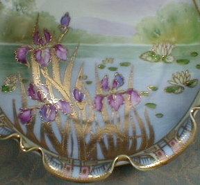NIPPON Irises BOWL moriage - ANTIQUE -