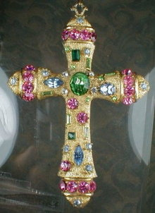 CROSS Pendant COLORED Rhinestones - VINTAGE -