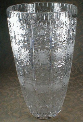 CUT Glass VASE - 12 inches TALL -