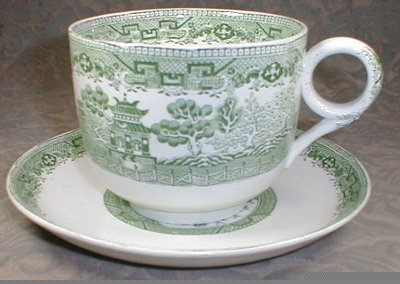 WILLOW Ware GREEN Farmers + Cup Saucer -