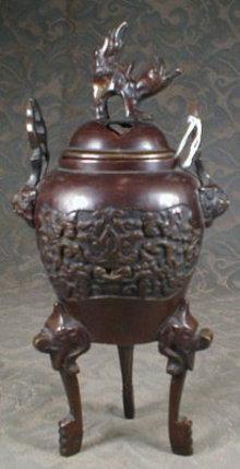 CHINESE Bronze CENSER Incense BURNER Foo Dog