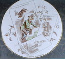 SARREGUEMINES Plate - Hunting for Pelts - ANTIQUE
