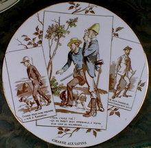 SARREGUEMINES PLATE - Rabbit Hunting - ANTIQUE